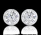 עגילי יהלומים צמודים Round